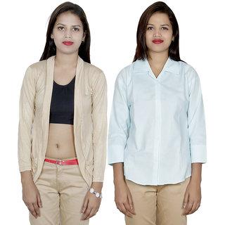 IndiWeaves Women's Viscose Shrug with Cotton Shirt (Pack of 1 Shrug with 1 Shirt)