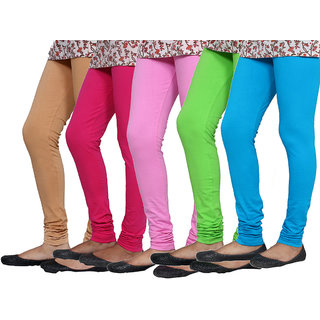 IndiWeaves Combo Offer Women Premium Cotton Leggings (5 Pieces) with Cotton Capris (5 Pieces)- (Combo Pack of 10)