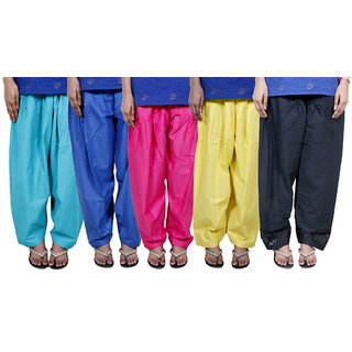 IndiWeaves Women's Cotton Patiala Salwar Combo 5 (Pack of 5 Salwar)