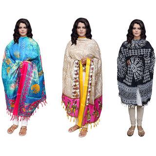 IndiWeaves Women's 2 Silk and 1 Cotton Dupatta Combo(Pack of 3 Dupatta)