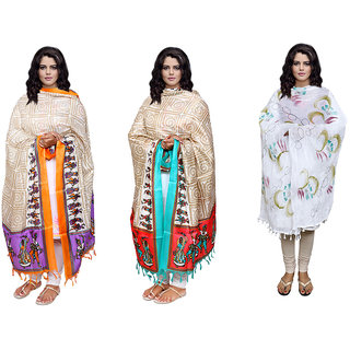 IndiWeaves Women's 2 Silk and 1 Cotton Dupatta Combo(Pack of 3 Dupatta)