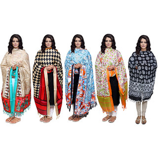 IndiWeaves Women's Dupatta Combo 5(Pack of 4 Silk and 1 Cotton Dupatta)