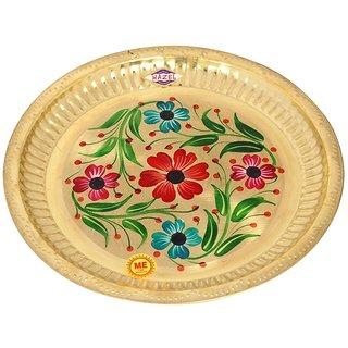 Flower Round Aarti Brass Puja Pooja Aarti Flower Thali 24 cm, Golden