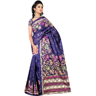 DesiButiks Blue Brasso Printed Saree With Blouse