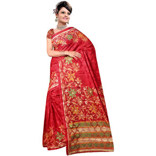 DesiButiks Red Brasso Printed Saree With Blouse