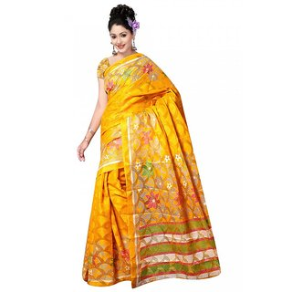 DesiButiks Yellow Brasso Printed Saree With Blouse