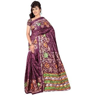 DesiButiks Maroon Brasso Printed Saree With Blouse