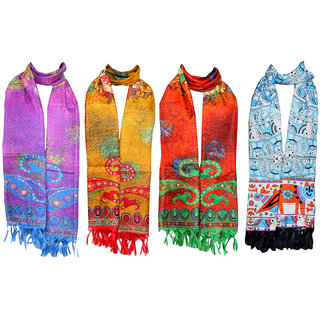 Indistar Women's BhagalPuri Silk Dupata Combo 4(Pack of 4 Different Design Dupatta)