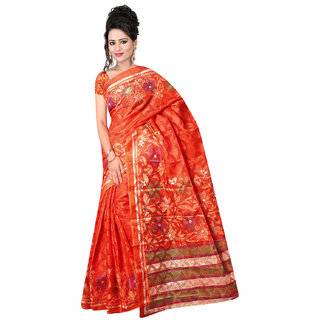 DesiButiks Orange Brasso Printed Saree With Blouse