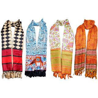 Indistar Women's BhagalPuri Silk Dupata Combo 4(Pack of 4 Different Design Dupatta)
