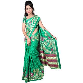 DesiButiks Green Brasso Printed Saree With Blouse