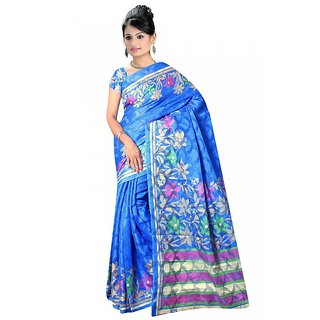 DesiButik's  Sky Blue Brasso Saree with Blouse VSM17