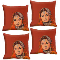 Indistar Micro Polyester Digital Printed Cushion Cover Combo (Pack Of 4 Cushion Cover)(Size- 16X16 Inches)