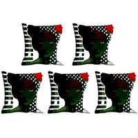 Indistar Micro Polyester Digital Printed Cushion Cover Combo (Pack Of 5 Cushion Cover)(Size- 12X12 Inches)