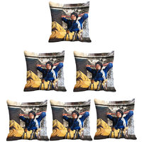 Indistar Micro Polyester Digital Printed Cushion Cover Combo (Pack Of 6 Cushion Cover)(Size- 12X12 Inches)