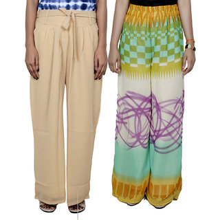 Indistar Women's Georgette Pallazo Combo (Pack of 2)
