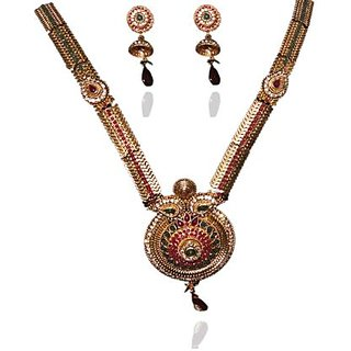 Kriaa Alloy Maroon  Green Ethnic Necklace Set - 2101801