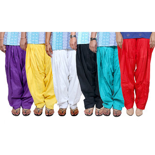 Indistar Women's Cotton Patiala Salwar Combo 6 (Pack of 6 Salwar)