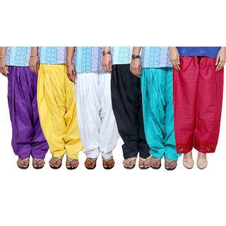 Indistar Women's Cotton Patiala Salwar Combo 6 (Pack of 6 Salwar)