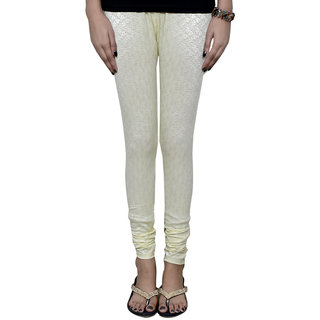 Indistar Women's Jacquard Cream Fancy Legging