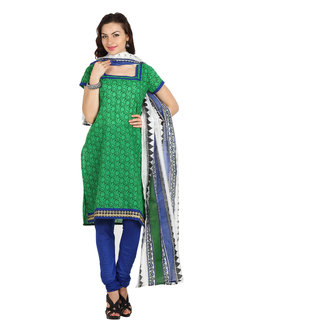 Parchayee Green Cotton Printed Unstitched Dress Material