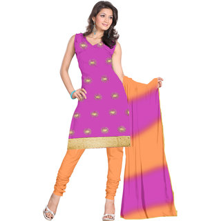 Parchayee Pink Synthetic,Art Silk Solid Unstitched Dress Material