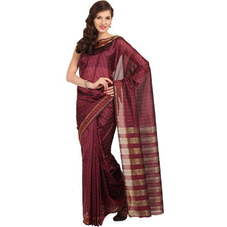 Satrang Purple Art Silk Striped Saree With Blouse