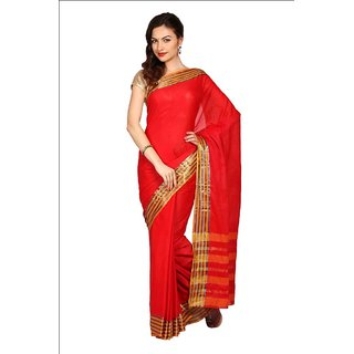 Parchayee Red Cotton Plain Saree With Blouse
