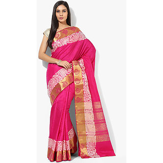 Parchayee Pink Tussar Silk,Jacquard Lace Saree With Blouse