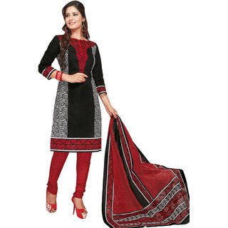 Parchayee Red Cotton Floral Print Unstitched Dress Material