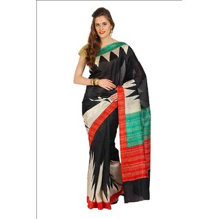 Parchayee Black Art Silk Plain Saree With Blouse