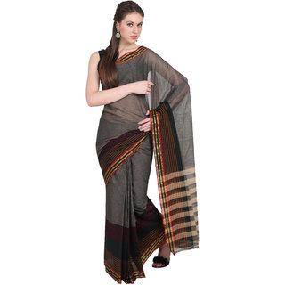 Aryahi Black Cotton Self Design Saree With Blouse