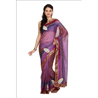 Parchayee Purple Art Silk Self Design Saree With Blouse