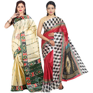 Parchayee Beige,Maroon Art Silk Printed Saree Without Blouse (Pack of 2)