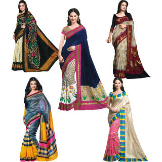 Parchayee Multicolor Art Silk Printed Saree With Blouse (Combo of 5)