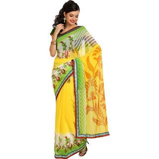 Parchayee Yellow Chiffon Self Design Saree With Blouse