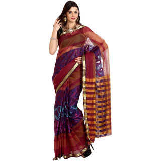 Parchayee Multicolor Net Self Design Saree With Blouse