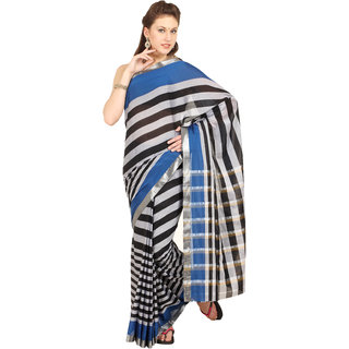 Aryahi Multicolor Synthetic Striped Saree With Blouse