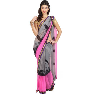 Parchayee Grey Chiffon Self Design Saree With Blouse
