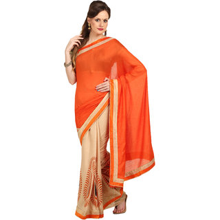 Parchayee Orange,Beige Art Silk Solid Saree With Blouse