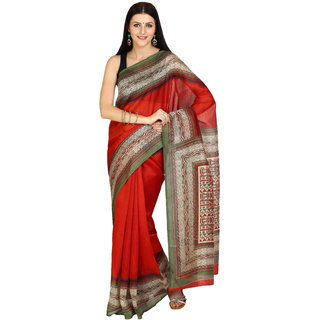 Parchayee Red Art Silk Self Design Saree With Blouse