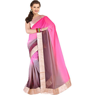 Parchayee Pink Art Silk Solid Saree With Blouse