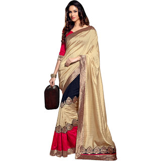 Parchayee Beige Crepe Plain Saree With Blouse