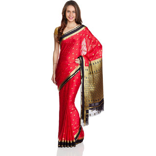 Parchayee Red Crepe Plain Saree With Blouse