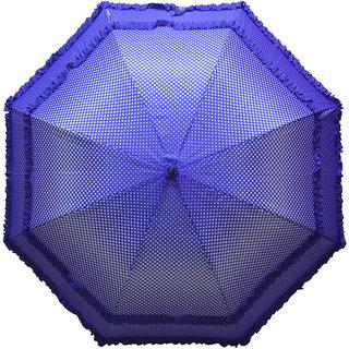 Murano Single Fold Dot Doublefrill Designer Blue Color Umbrella