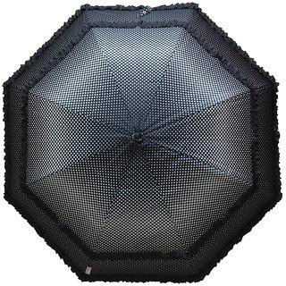Murano Single Fold Dot Doublefrill Black Color Umbrella