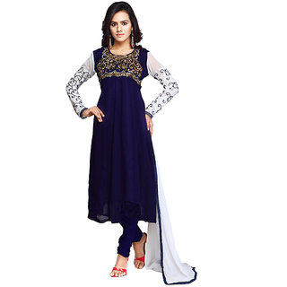 Fabdeal Party Wear Dark Blue Colored Georgette Slwar Kameez