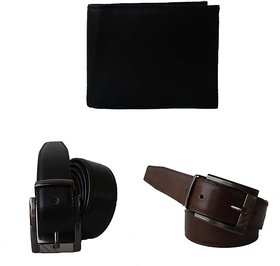 JARS Collections Combo of 2 Belts And 1 Leather Wallet