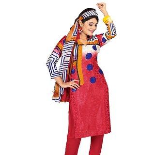 Fabdeal Polka Print Red French jacquard Dressmaterial