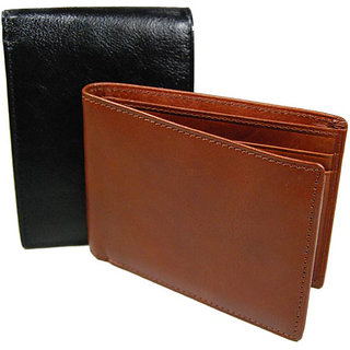 Casual Leather Wallet for Men - Combo (Black and Brown)